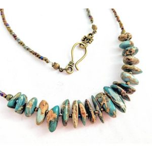 Shop Jasper Necklaces! Earthy Aqua Terra Jasper necklace. Minimalist turquoise blue & brown gemstone jewelry. Sea sediment/snakeskin jasper, impression stone | Natural genuine Jasper necklaces. Buy crystal jewelry, handmade handcrafted artisan jewelry for women.  Unique handmade gift ideas. #jewelry #beadednecklaces #beadedjewelry #gift #shopping #handmadejewelry #fashion #style #product #necklaces #affiliate #ad