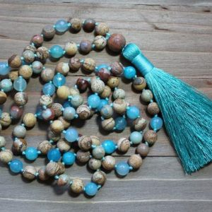 Shop Jasper Necklaces! Jasper Mala Necklace, Long Beaded Tassel Boho Necklace, Beach Jewelry for Women, Yoga Beads 108, Grounding Stone Necklace, 8mm Mala Beads | Natural genuine Jasper necklaces. Buy crystal jewelry, handmade handcrafted artisan jewelry for women.  Unique handmade gift ideas. #jewelry #beadednecklaces #beadedjewelry #gift #shopping #handmadejewelry #fashion #style #product #necklaces #affiliate #ad