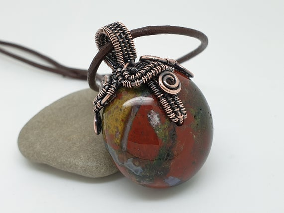 Fancy Jasper Necklace, Pebble Pendant, Wire Wrapped Jewellery, Natural Stone