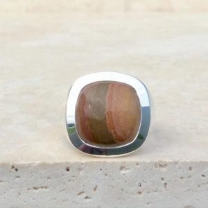 Shop Jasper Rings! Mens Gemstone Silver Ring, Large Brown Jasper Ring, Christmas Gift For Dad, Husband Gift Idea | Natural genuine Jasper mens fashion rings, simple unique handcrafted gemstone men's rings, gifts for men. Anillos hombre. #rings #jewelry #crystaljewelry #gemstonejewelry #handmadejewelry #affiliate #ad