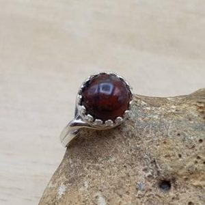 Round Solitaire Red Jasper Adjustable Ring. 925 Sterling Silver Rings For Women. Reiki Jewelry Uk. 10mm Semi Precious Gemstone | Natural genuine Jasper rings, simple unique handcrafted gemstone rings. #rings #jewelry #shopping #gift #handmade #fashion #style #affiliate #ad