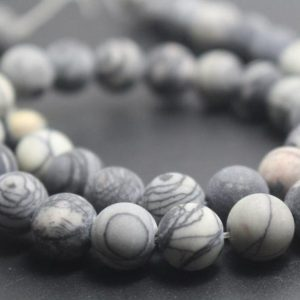 Shop Jasper Beads! 6mm/8mm/10mm/12mm Matte Black Picasso Jasper Round Stone Beads,15 inches one starand | Natural genuine beads Jasper beads for beading and jewelry making.  #jewelry #beads #beadedjewelry #diyjewelry #jewelrymaking #beadstore #beading #affiliate #ad