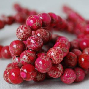 "Shop Red Jasper Beads! High Quality Grade A Imperial Jasper Dark Pink (dyed) Semi-precious Gemstone Round Beads – 4mm, 10mm sizes – Approx 16"" strand 