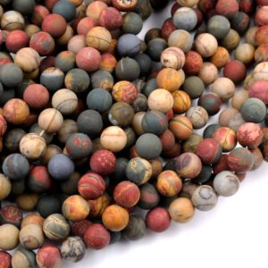 "Matte Red Creek Jasper Bead 4mm 6mm 8mm 10mm 12mm Round Red Green Yellow Brown Natural Cherry Creek Multi Color Picasso Jasper 15.5"" Strand 
