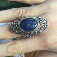Blue Vintage Ring, Kyanite Ring, Statement Ring, Taurus Ring, Vintage Rings, Taurus Birthstone, Unique Ring, Silver Ring, Natural Kyanite | Natural genuine Gemstone jewelry. Buy crystal jewelry, handmade handcrafted artisan jewelry for women.  Unique handmade gift ideas. #jewelry #beadedjewelry #beadedjewelry #gift #shopping #handmadejewelry #fashion #style #product #jewelry #affiliate #ad