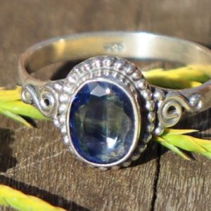 Shop Kyanite Rings! Kyanite Healing Stone Ring, 925 Silver, Size 7.5, with Positive Healing Energy! | Natural genuine Kyanite rings, simple unique handcrafted gemstone rings. #rings #jewelry #shopping #gift #handmade #fashion #style #affiliate #ad