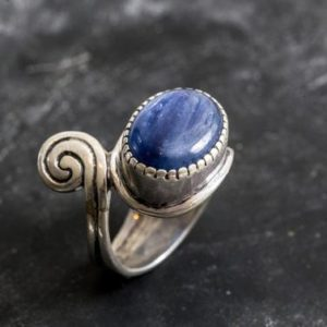 Shop Kyanite Rings! Vintage Kyanite Ring, Natural Kyanite Ring, Blue Kyanite Ring, African Stone, Vintage Blue Rings, Unique Design, Solid Silver Ring, Kyanite | Natural genuine Kyanite rings, simple unique handcrafted gemstone rings. #rings #jewelry #shopping #gift #handmade #fashion #style #affiliate #ad