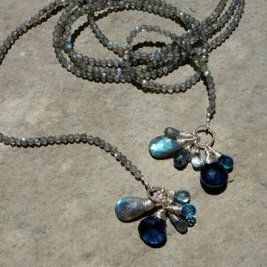 Labradorite Lariat Necklace, Gemstone Briolette Necklace, Long Wrap Necklace | Natural genuine Labradorite necklaces. Buy crystal jewelry, handmade handcrafted artisan jewelry for women.  Unique handmade gift ideas. #jewelry #beadednecklaces #beadedjewelry #gift #shopping #handmadejewelry #fashion #style #product #necklaces #affiliate #ad