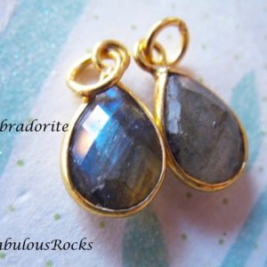 Bezel LABRADORITE Pendants Charms / Birthstone Gemstone 14×8.25 mm / Sterling Silver or 24k Gold Plated Teardrop Drop, petite sgc GCP4 ll gp | Natural genuine other-shape Labradorite beads for beading and jewelry making.  #jewelry #beads #beadedjewelry #diyjewelry #jewelrymaking #beadstore #beading #affiliate #ad