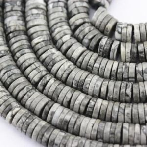 "Larvikite Labradorite Heishi Disc Beads 5×1.5mm 6×1.5mm 7×1.5mm 15.5"" Strand 
