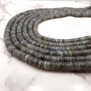 "Natural Labradorite Heishi Disc Beads 5×1.5mm 6×1.5mm 7×1.5mm 15.5"" Strand 