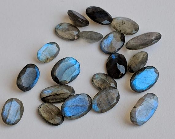 6x9mm - 8x14mm Labradorite Oval Cut Stones, Labradorite Pointed Back Oval Cut Stone, Loose Blue Fire Gems For Jewelry (5pcs To 10pcs Option)