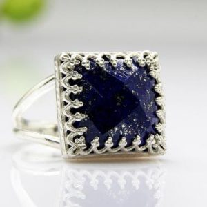 Lapis ring,september birthstone ring,gemstone ring,sterling silver ring,semi precious ring,birthstone Gift | Natural genuine Lapis Lazuli rings, simple unique handcrafted gemstone rings. #rings #jewelry #shopping #gift #handmade #fashion #style #affiliate #ad