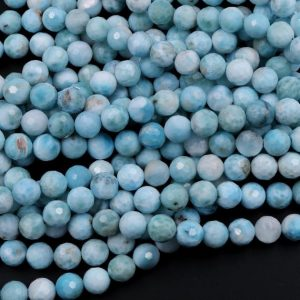 "Natural Larimar 6mm 8mm 10mm Round Beads High Quality Micro Faceted Real Genuine Natural Blue Larimar Gemstone AA Grade 16"" Strand 