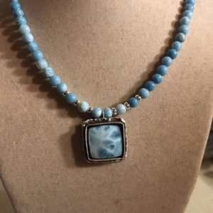 Shop Larimar Necklaces! Larimar Necklace – Sterling Silver Jewelry – Blue Gemstone Jewellery – Chic – Luxe – Beaded – Extender Chain | Natural genuine Larimar necklaces. Buy crystal jewelry, handmade handcrafted artisan jewelry for women.  Unique handmade gift ideas. #jewelry #beadednecklaces #beadedjewelry #gift #shopping #handmadejewelry #fashion #style #product #necklaces #affiliate #ad