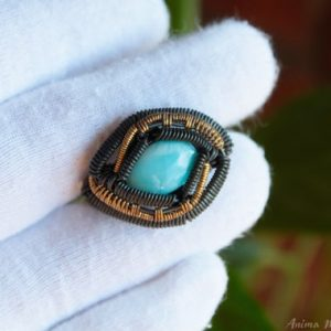 Shop Larimar Rings! Larimar Ring Size 7us, Wire Wrapped Larimar Ring, Heady Ring, Blue Stone Ring, Raw Crystal Ring, Copper Wire Ring, Brass Wire Ring | Natural genuine Larimar rings, simple unique handcrafted gemstone rings. #rings #jewelry #shopping #gift #handmade #fashion #style #affiliate #ad