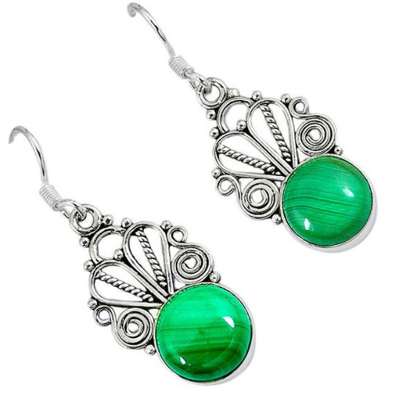 Sale, Very Beautiful Green Malachite Earrings, 925 Silver, Prosperity Stone