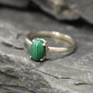 Shop Malachite Rings! Malachite Ring, Natural Malachite, Green Solitaire Ring, Dainty Silver Ring, African Gem Ring, Vintagering, Small Ring, Solid Silver Ring | Natural genuine Malachite rings, simple unique handcrafted gemstone rings. #rings #jewelry #shopping #gift #handmade #fashion #style #affiliate #ad