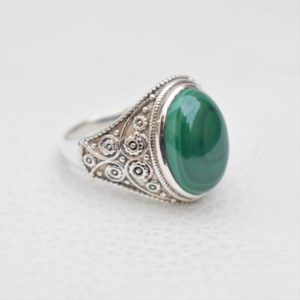 Shop Malachite Rings! Natural Malachite Ring- Handmade Silver Ring-925 Sterling Silver Ring-Oval Malchite Designer Ring-Scorpio Birthstone-Promise Ring | Natural genuine Malachite rings, simple unique handcrafted gemstone rings. #rings #jewelry #shopping #gift #handmade #fashion #style #affiliate #ad