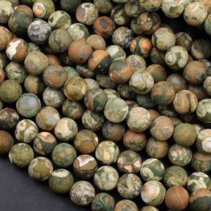 "Matte Natural Rainforest Rhyolite Jasper Round 4mm 6mm 8mm 10mm Green Brown Orange Brown Beads 15.5"" Strand 