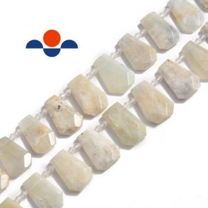 "Shop Moonstone Faceted Beads! White Moonstone Graduated Faceted Trapezoid Beads 15×20 -18x27mm 15.5"" Strand 