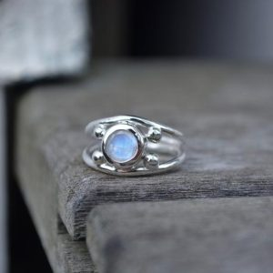 Shop Rainbow Moonstone Rings! Rainbow Moonstone Ring, Size 5.5, Moonstone Ring,Faceted Moonstone Ring,Faceted Moonstone,Rainbow Moonstone Ring,Sterling Silver,Silver Ring | Natural genuine Rainbow Moonstone rings, simple unique handcrafted gemstone rings. #rings #jewelry #shopping #gift #handmade #fashion #style #affiliate #ad