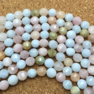 Shop Morganite Faceted Beads! 8mm Natural Faceted Multicolor Morganite Beads, Round Gemstone Beads, Wholasela Beads | Natural genuine faceted Morganite beads for beading and jewelry making.  #jewelry #beads #beadedjewelry #diyjewelry #jewelrymaking #beadstore #beading #affiliate #ad