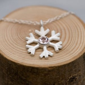 Snowflake Pendant In Silver- Morganite Silver Snowflake Necklace Pink Gem Necklace | Natural genuine Array jewelry. Buy crystal jewelry, handmade handcrafted artisan jewelry for women.  Unique handmade gift ideas. #jewelry #beadedjewelry #beadedjewelry #gift #shopping #handmadejewelry #fashion #style #product #jewelry #affiliate #ad