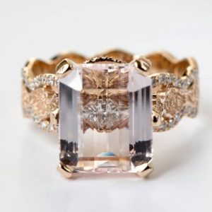 Award-winning Morganite Engagement Ring, Rose Gold Diamond Engagement Ring, Unique Lace Engagement Ring, Glamorous Ring, Hidden Diamond Halo | Natural genuine Array jewelry. Buy handcrafted artisan wedding jewelry.  Unique handmade bridal jewelry gift ideas. #jewelry #beadedjewelry #gift #crystaljewelry #shopping #handmadejewelry #wedding #bridal #jewelry #affiliate #ad
