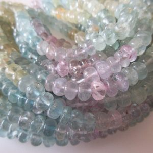 Shop Morganite Rondelle Beads! Natural Aquamarine Smooth Rondelle Beads, Pink Aquamarine, Blue Yellow Aquamarine Beads, 7mm Morganite Beads, 18 Inch Strand, SKU-2869 | Natural genuine rondelle Morganite beads for beading and jewelry making.  #jewelry #beads #beadedjewelry #diyjewelry #jewelrymaking #beadstore #beading #affiliate #ad