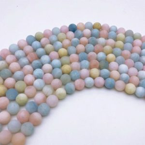 Shop Morganite Round Beads! 8mm Natural Matte Multicolor Morganite Beads, Round Gemstone Beads, Wholasela Beads | Natural genuine round Morganite beads for beading and jewelry making.  #jewelry #beads #beadedjewelry #diyjewelry #jewelrymaking #beadstore #beading #affiliate #ad