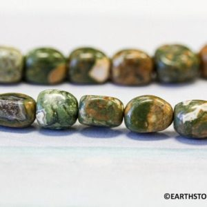 Shop Rainforest Jasper Beads! Natural Rhyolite 7x9mm Tumbled Nugget loose beads 36 pcs per strand  Genuine green with brown Rhyolite Not Dyed Rainforest Jasper | Natural genuine chip Rainforest Jasper beads for beading and jewelry making.  #jewelry #beads #beadedjewelry #diyjewelry #jewelrymaking #beadstore #beading #affiliate #ad