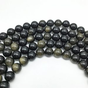Shop Obsidian Round Beads! 8mm Gold Obsidian Beads, Round Gemstone Beads, Wholesale Beads | Natural genuine round Obsidian beads for beading and jewelry making.  #jewelry #beads #beadedjewelry #diyjewelry #jewelrymaking #beadstore #beading #affiliate #ad