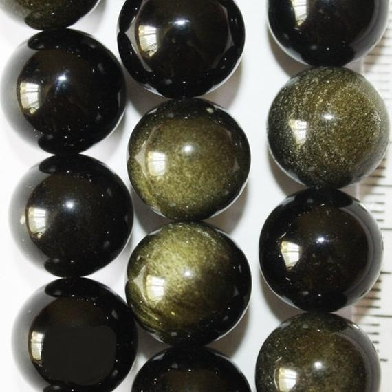 "Genuine Golden Black Obsidian Beads - Round 8 Mm Gemstone Beads - Full Strand 15 1/2"", 47 Beads, Aa Quality"