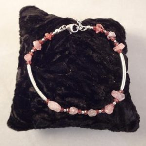 Shop Pink Tourmaline Bracelets! One of a kind Pink Tourmaline Bracelet with Ruby and Sterling Silver Beads by Rachel Sowinski at The Gift Itself | Natural genuine Pink Tourmaline bracelets. Buy crystal jewelry, handmade handcrafted artisan jewelry for women.  Unique handmade gift ideas. #jewelry #beadedbracelets #beadedjewelry #gift #shopping #handmadejewelry #fashion #style #product #bracelets #affiliate #ad