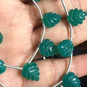 11 pcs Green onyx carved leaf side drilled beads,green onyx beads | Natural genuine other-shape Gemstone beads for beading and jewelry making.  #jewelry #beads #beadedjewelry #diyjewelry #jewelrymaking #beadstore #beading #affiliate #ad