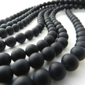 SALE Matte Black Onyx Round Beads, 4mm/6mm/8mm/10mm, Full Strand 15.5 Inches, Hole size 0.8mm, Natural Gemstone Beads | Natural genuine other-shape Onyx beads for beading and jewelry making.  #jewelry #beads #beadedjewelry #diyjewelry #jewelrymaking #beadstore #beading #affiliate #ad