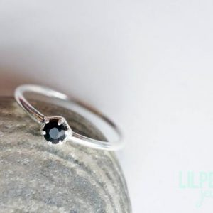 Shop Onyx Rings! 3mm BLACK ONYX silver ring. HEXAGON gem sterling silver dainty ring geometric stacking ring jet black gem ring | Natural genuine Onyx rings, simple unique handcrafted gemstone rings. #rings #jewelry #shopping #gift #handmade #fashion #style #affiliate #ad