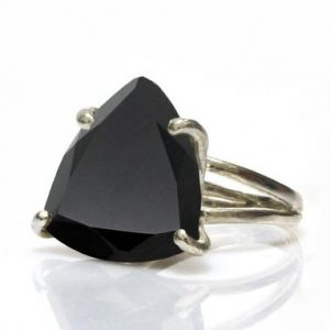 Shop Onyx Rings! Black onyx ring,statement ring,triangular ring,trillion ring,silver ring,gemstone ring,cocktail ring,stone ring,doub | Natural genuine Onyx rings, simple unique handcrafted gemstone rings. #rings #jewelry #shopping #gift #handmade #fashion #style #affiliate #ad