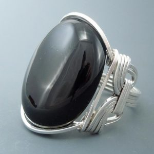 Shop Onyx Rings! Handcrafted Sterling Silver Large Black Onyx Cabochon Wire Wrapped Ring | Natural genuine Onyx rings, simple unique handcrafted gemstone rings. #rings #jewelry #shopping #gift #handmade #fashion #style #affiliate #ad