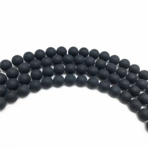 Shop Onyx Round Beads! 6mm Matte Black Onyx Beads, Round Gemstone Beads, Wholesale Beads | Natural genuine round Onyx beads for beading and jewelry making.  #jewelry #beads #beadedjewelry #diyjewelry #jewelrymaking #beadstore #beading #affiliate #ad