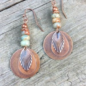 Shop Opal Jewelry! Copper Dangle Earrings, African Opal Earrings, Copper Leaf Earrings, Autumn Jewelry, Blue Aqua Stone Jewelry, Leaf Jewelry | Natural genuine Opal jewelry. Buy crystal jewelry, handmade handcrafted artisan jewelry for women.  Unique handmade gift ideas. #jewelry #beadedjewelry #beadedjewelry #gift #shopping #handmadejewelry #fashion #style #product #jewelry #affiliate #ad