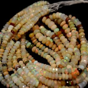 Shop Opal Faceted Beads! 16 Inch Strand Opal Beads, Ethiopian Opal, Faceted Opal Rondelles, 3.5mm To 7mm Each Not Enhanced   Natural genuine faceted Opal beads for beading and jewelry making.  #jewelry #beads #beadedjewelry #diyjewelry #jewelrymaking #beadstore #beading #affiliate #ad