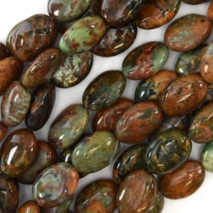 "18mm brown green opal flat oval beads 16"" strand 17435 