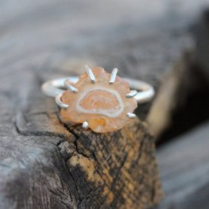 Shop Opal Jewelry! Peach Colored Rough Fire Opal Silver Ring Pale Orange Unique Statement Design Summer Boho Gift Idea Her Prong Set Freeform – Jelly Amoeba | Natural genuine Opal jewelry. Buy crystal jewelry, handmade handcrafted artisan jewelry for women.  Unique handmade gift ideas. #jewelry #beadedjewelry #beadedjewelry #gift #shopping #handmadejewelry #fashion #style #product #jewelry #affiliate #ad