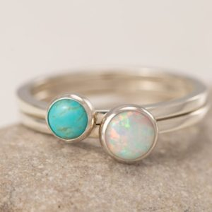 Shop Opal Rings! Stacking Rings- Silver Stacking Ring Set- Stack Rings- Stone Rings- Turquoise Ring, Opal Ring, Stackable Rings | Natural genuine Opal rings, simple unique handcrafted gemstone rings. #rings #jewelry #shopping #gift #handmade #fashion #style #affiliate #ad