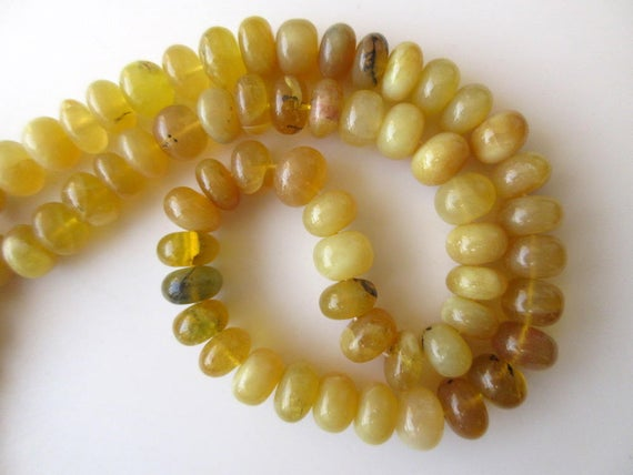 11mm Natural Yellow Opal Rondelle Beads, Smooth Opal Rondelle Beads, 16 Inch Strand, Gds677