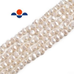 "Shop Gemstone Chip & Nugget Beads! White Fresh Water Pearl Center Drill Nugget Beads 4mm 6mm 8mm 10mm 14"" Strand 