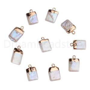 Shop Pearl Bead Shapes! 1-100 Pcs Natural White Freshwater Pearl Square Pendant Beads with Electroplated Edge for Necklace Making ( 1 Loop ) | Natural genuine other-shape Pearl beads for beading and jewelry making.  #jewelry #beads #beadedjewelry #diyjewelry #jewelrymaking #beadstore #beading #affiliate #ad
