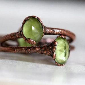 Shop Peridot Rings! Peridot Ring – Copper Stacking Ring – Faceted Stone – August Birthstone | Natural genuine Peridot rings, simple unique handcrafted gemstone rings. #rings #jewelry #shopping #gift #handmade #fashion #style #affiliate #ad